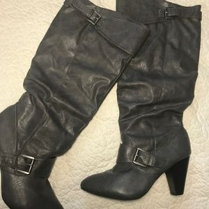 Rampage Gray Slouchy Pull-on Boots Size 10
